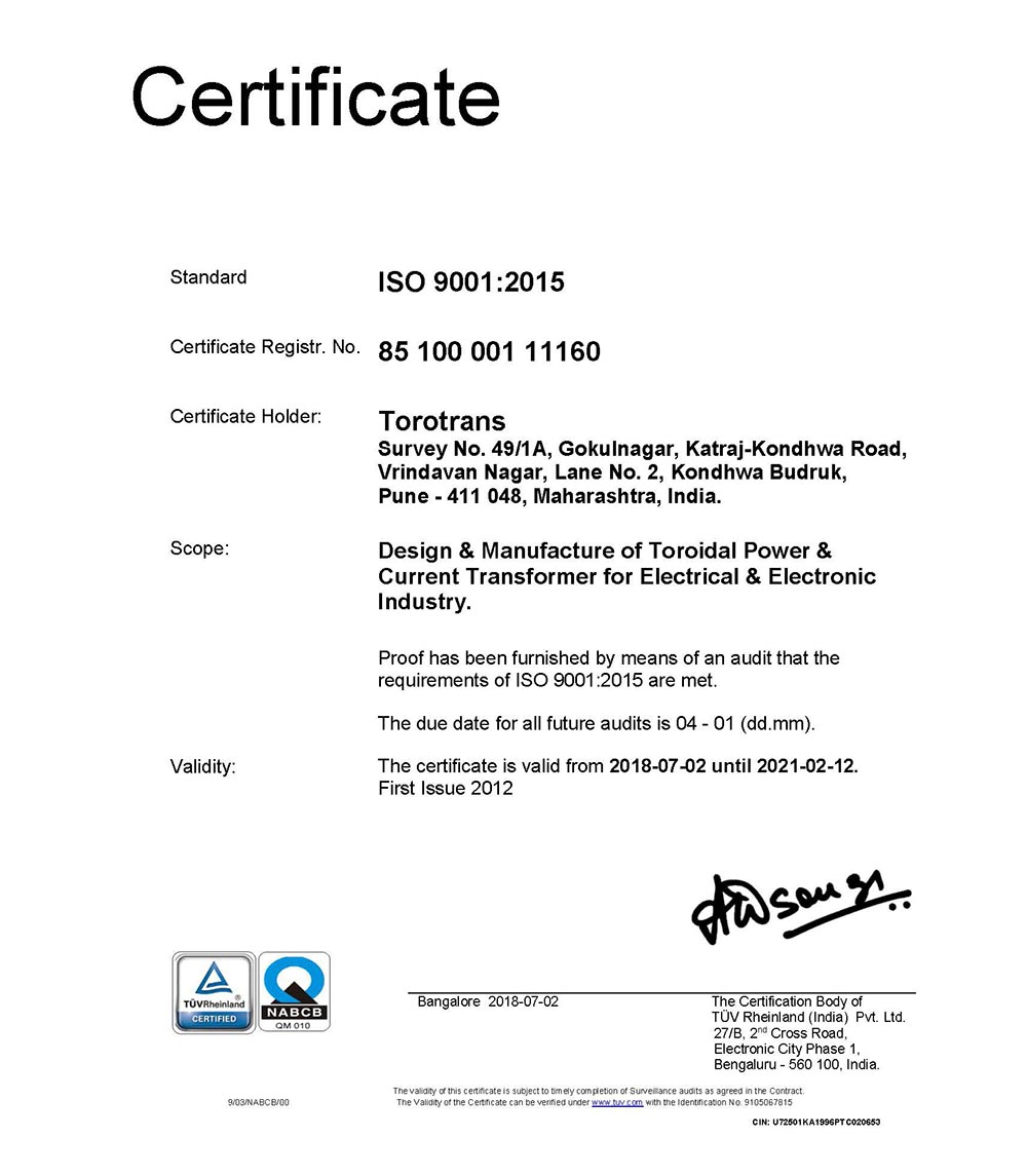 An Iso 9001 : 2008 certificate